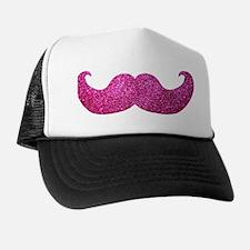 Pink Bling Mustache (faux glitter) Trucker Hat