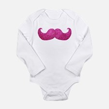 Pink Bling Mustache (faux glitter) Long Sleeve Inf