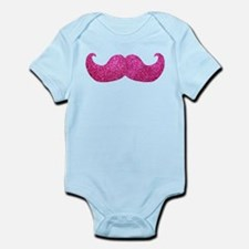 Pink Bling Mustache (faux glitter) Infant Bodysuit