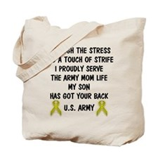 Army Mom My Son has got your back Poem Tote Bag