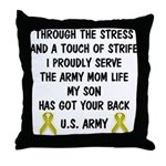 Army Mom My Son has got your back Poem Throw Pillo