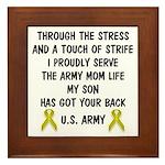 Army Mom My Son has got your back Poem Framed Tile