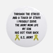 Army Mom My Son has got your back Poem Ornament (R