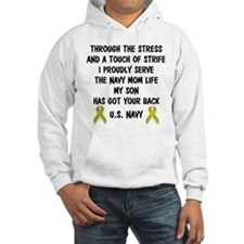 Navy Mom My Son has got your back Poem Hoodie