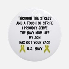 Navy Mom My Son has got your back Poem Ornament (R