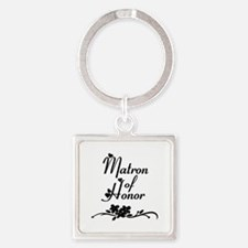 Classic Matron of Honor Square Keychain