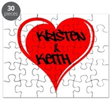 Personalized with names Valentines day heart Puzzl