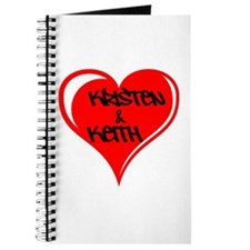 Personalized with names Valentines day heart Journ