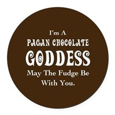 Pagan Chocolate Goddess Round Car Magnet