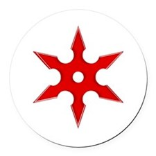 Shuriken Red Ninja Star Round Car Magnet