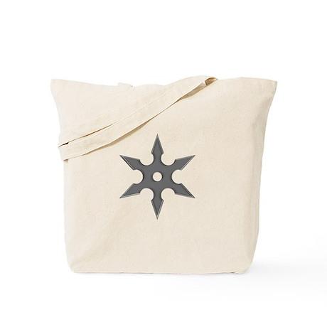 Shuriken Silver Ninja Star Tote Bag