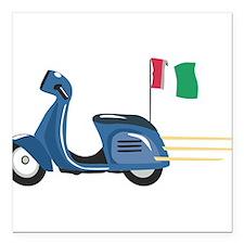 "Italian Vespa Square Car Magnet 3"" x 3"""