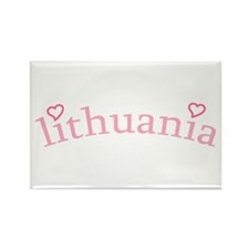 """Lithuania with Hearts"" Rectangle Magnet"
