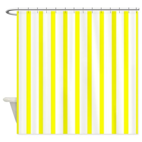Lemon Yellow Stripes Shower Curtain By Stripstrapstripes