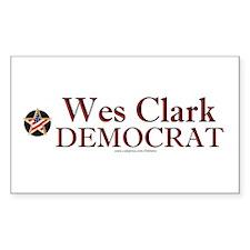 """Wes Clark Democrat"" Rectangle Decal"
