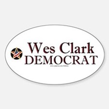 """Wes Clark Democrat"" Oval Decal"