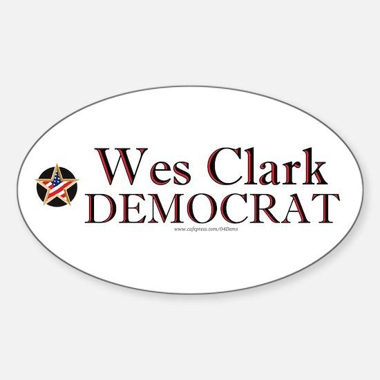 """""""Wes Clark Democrat"""" Oval Decal"""