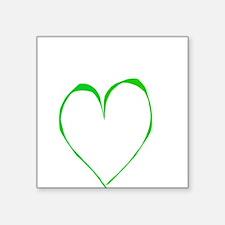 "Heart of Green Valentine's Day Square Sticker 3"" x"