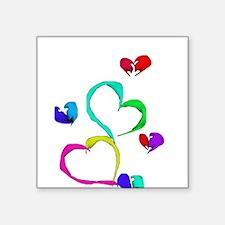 """Cute Hearts Valentine's Day Square Sticker 3"""" x 3"""""""