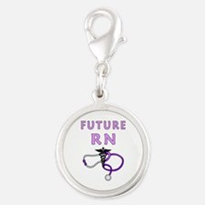Nurse Future RN Silver Round Charm