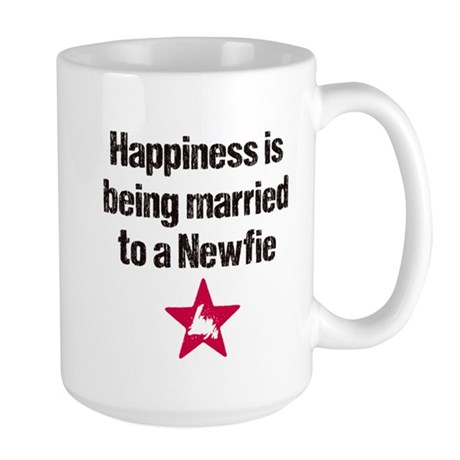 Happiness is being married to a Newfie Large Mug