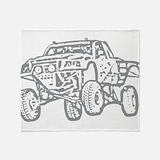 Off-Road Race Truck Grey Throw Blanket
