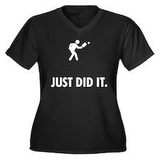 Pickleball Women's Plus Size V-Neck Dark T-Shirt