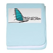 School Of Surf Windsurfing Logo baby blanket