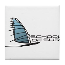 School Of Surf Windsurfing Logo Tile Coaster
