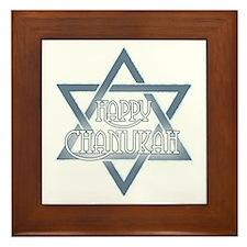 Star Happy Chanukah Framed Tile