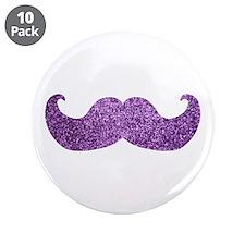 "Purple Bling Mustache (Faux Glitter) 3.5"" Button ("