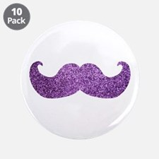 "Purple Bling Mustache (Faux Glitter) 3.5"" Button ("