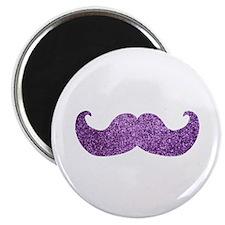 """Purple Bling Mustache (Faux Glitter) 2.25"""" Magnet"""