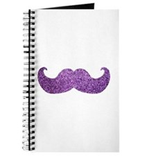 Purple Bling Mustache (Faux Glitter) Journal