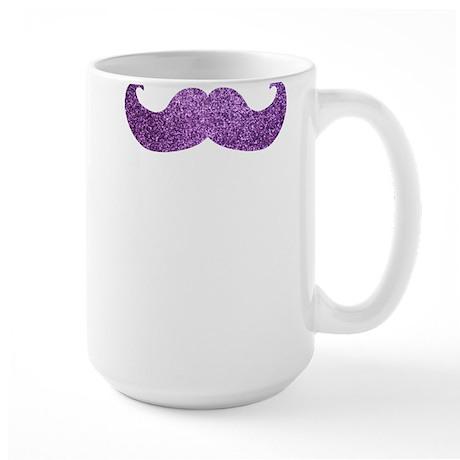 Purple Bling Mustache (Faux Glitter) Large Mug