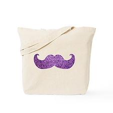 Purple Bling Mustache (Faux Glitter) Tote Bag