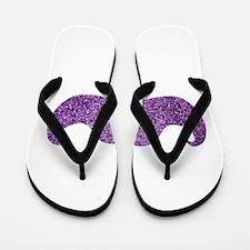 Purple Bling Mustache (Faux Glitter) Flip Flops