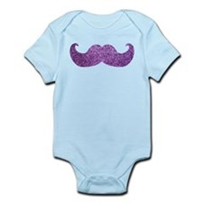 Purple Bling Mustache (Faux Glitter) Infant Bodysu