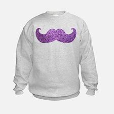 Purple Bling Mustache (Faux Glitter) Sweatshirt