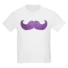 Purple Bling Mustache (Faux Glitter) T-Shirt