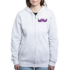 Purple Bling Mustache (Faux Glitter) Zip Hoodie