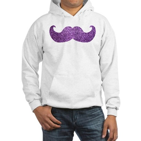 Purple Bling Mustache (Faux Glitter) Hooded Sweats