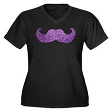 Purple Bling Mustache (Faux Glitter) Women's Plus