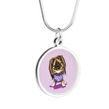 Plum Cute Pomeranian Silver Round Necklace