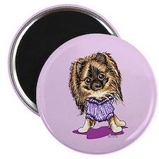 Plum Cute Pomeranian Magnet