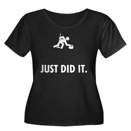 Curling Women's Plus Size Scoop Neck Dark T-Shirt