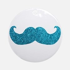 Faux Glitter Mustache in blue Ornament (Round)