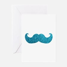 Faux Glitter Mustache in blue Greeting Cards (Pk o