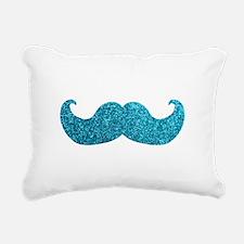 Faux Glitter Mustache in blue Rectangular Canvas P