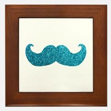 Faux Glitter Mustache in blue Framed Tile